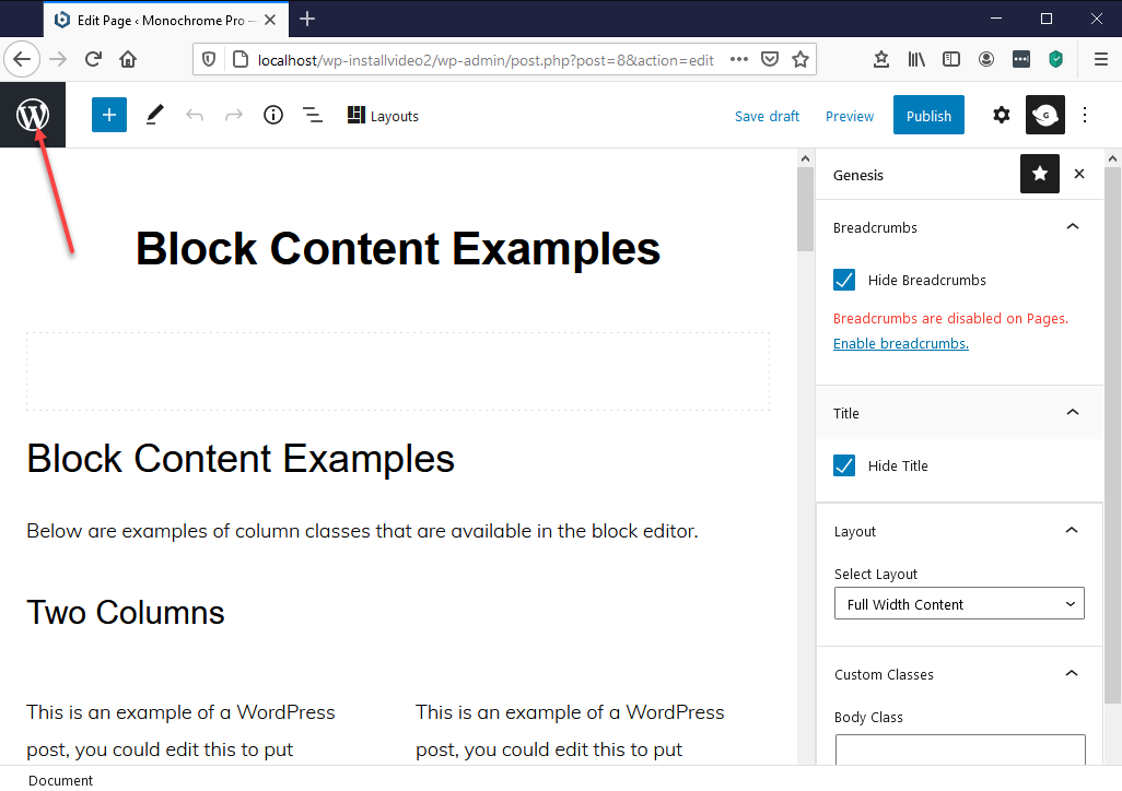 To exit the page editor, click the WordPress logo top left.