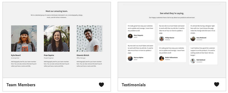 The team member and testimonials blocks in Genesis Blocks.