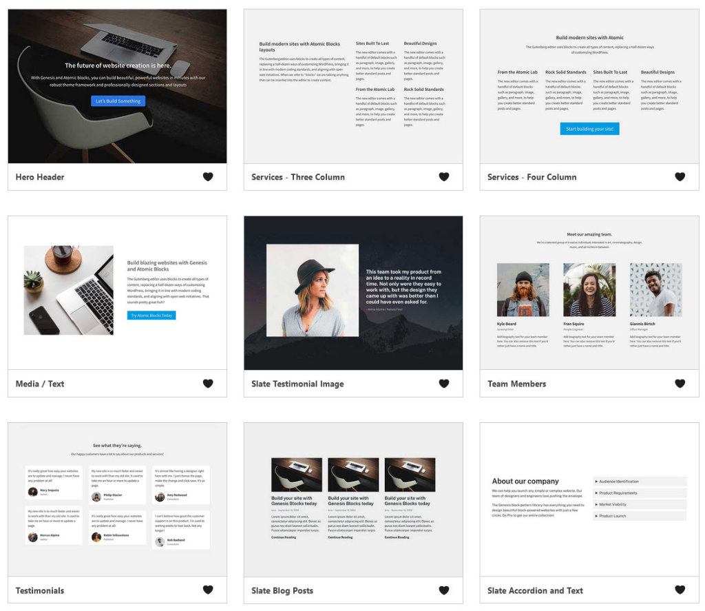 Genesis Blocks plugin includes full page templates and page section templates.